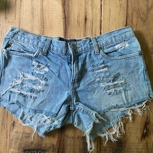 Juicy Couture Cut, Ripped Jean Shorts Sz 29